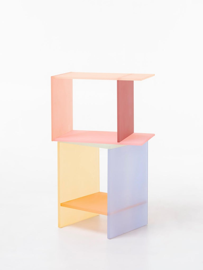 Modern Translucent Pastel Hand Dyed Acrylic Tone Table by Sohyun Yun, Blue Tone For Sale