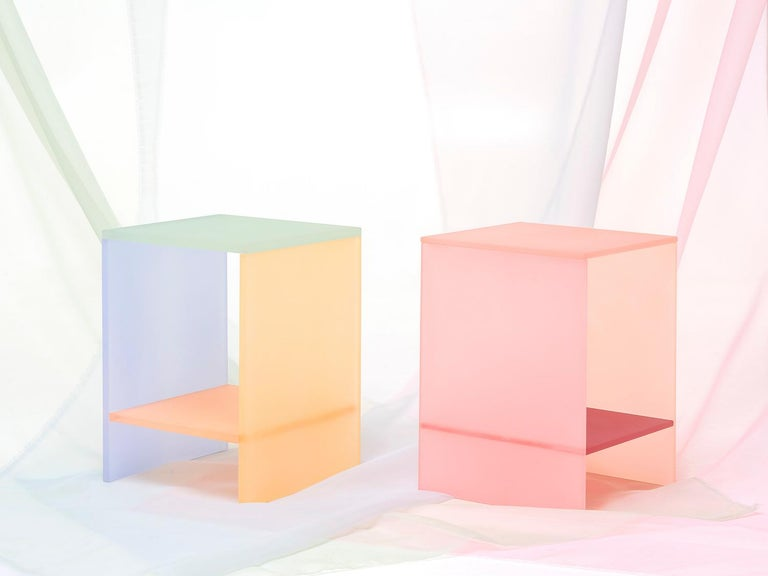 Korean Translucent Pastel Hand Dyed Acrylic Tone Table by Sohyun Yun, Blue Tone For Sale