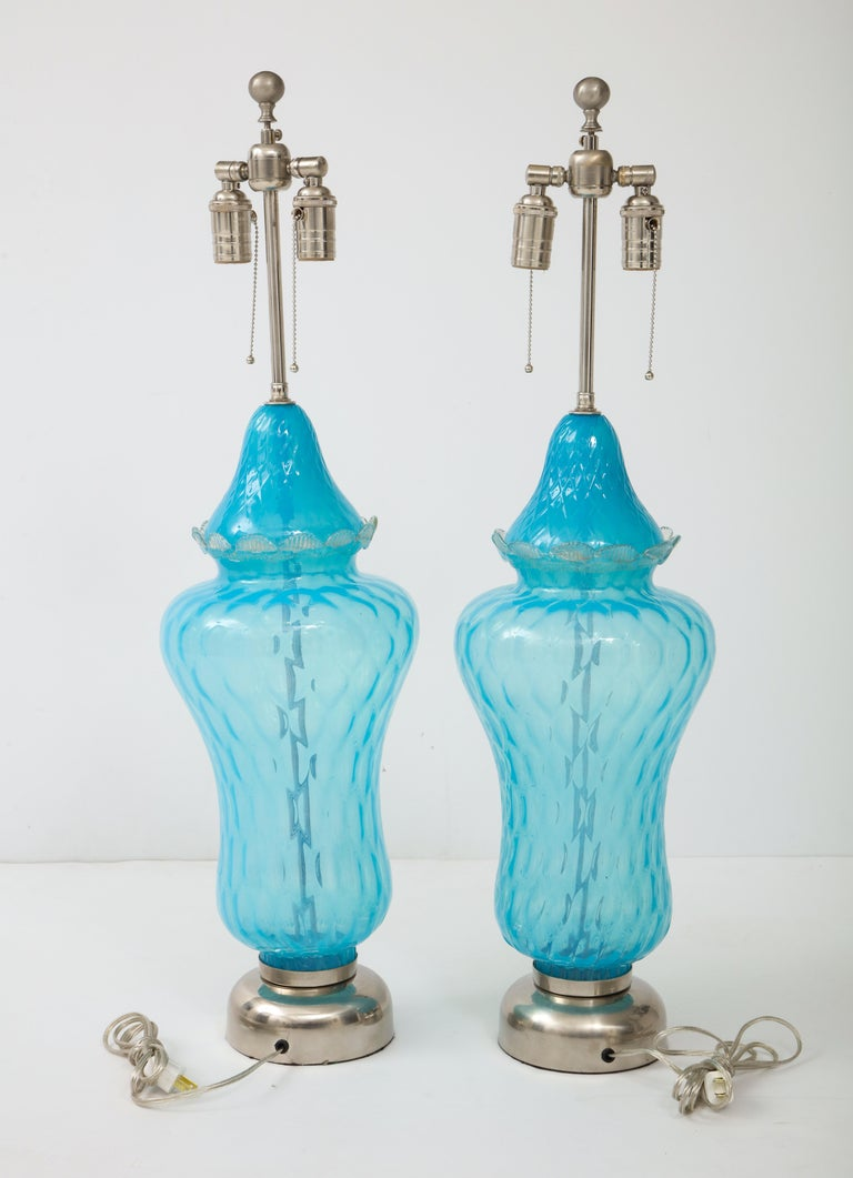 Mid-Century Modern Translucent Sky Blue Murano Glass Lamps For Sale
