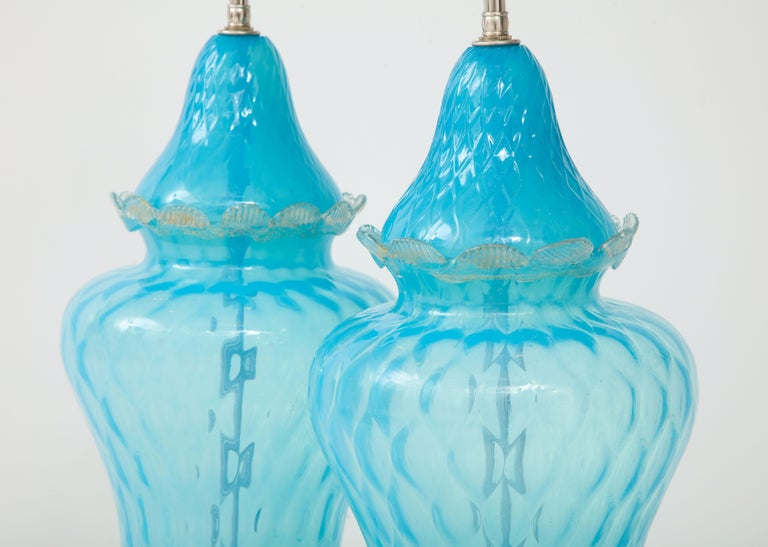 Translucent Sky Blue Murano Glass Lamps For Sale 1