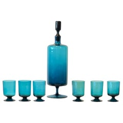 Translucent Teal Blue Blown Glass Decanter w/ Stopper & S/6 Petite Stem Glasses