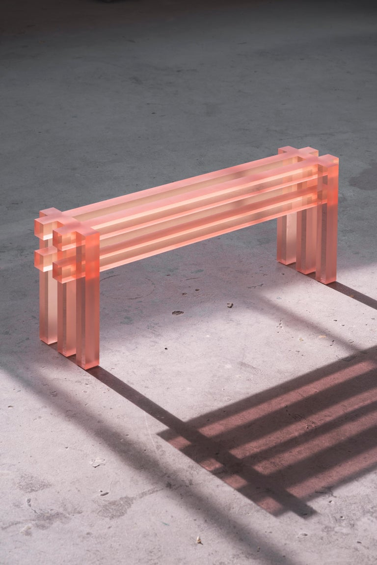 Translucid bench by Laurids Gallée Dimensions: W 125 x D 25 x H 45 cm Materials: Resin Weight: 42 kg  Born in Austria in 1988, Laurids Gallée is based in Rotterdam. After studying Anthropology in Vienna, he moves to the Netherlands, where he