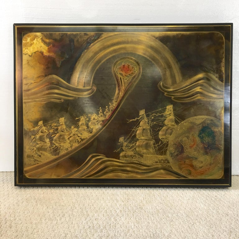 Framed acid etched brass panel by Bernhard Rohne. 32 inches wide by 24 inches high. Signed and dated lower left