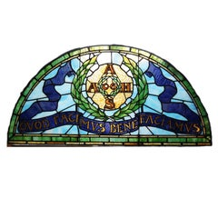 """Transom Leaded Glass Window, New York, """"AAHS What You Do, Do Well"""", circa 1806"""