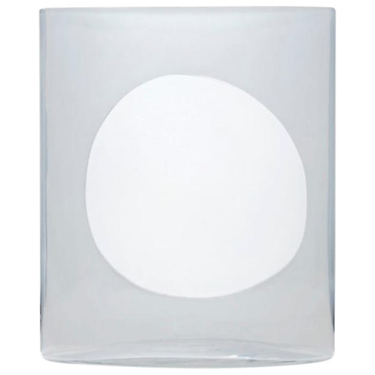 Transparent and White Glass Vase Model