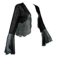 Transparent Black Silk Chiffon Shrug with Crochet Bell Sleeve, France - S, 1930s