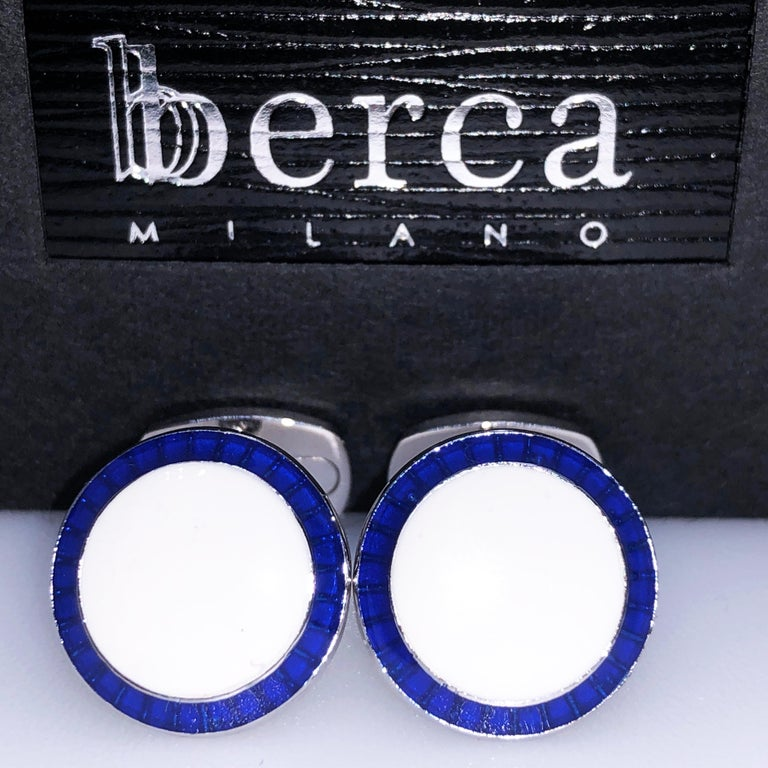 Chic yet Timeless Round White, Transparent Navy Blue Border Hand Enamelled Sterling Silver Cufflinks, T-bar back.  In our Smart Black Box and Pouch.  Front Diameter about 0.633 inches.