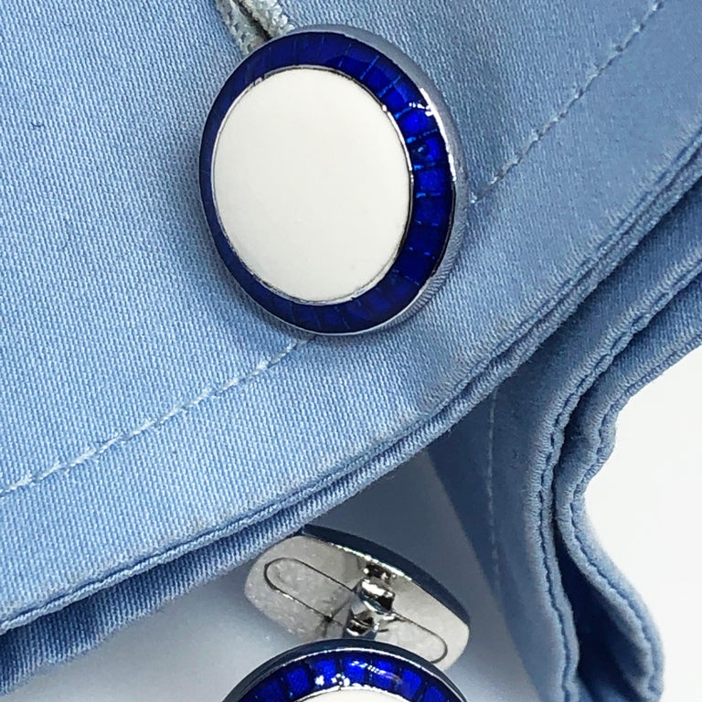Transparent Navy Blue White Hand Enameled T-Bar Back Sterling Silver Cufflinks For Sale 2