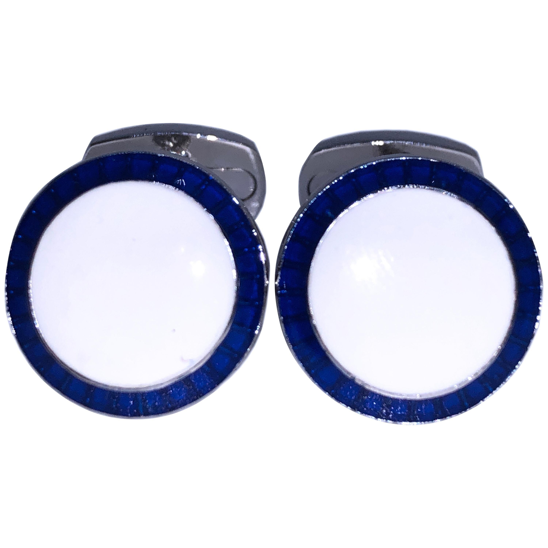 Berca Navy Blue White Hand Enameled T-Bar Back Sterling Silver Cufflinks