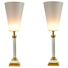 Transparent Plexiglass and Brass Table Lamps, Conic Lampshade, 1970s