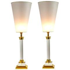 Transparent Plexiglass Golden Brass Table Lamps Customizable Shades, Italy 1970s
