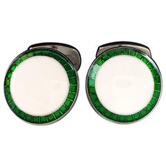 Transparent Vivid Green White Hand Enameled T-Bar Back Sterling Silver Cufflinks