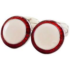 Transparent Vivid Red White Hand Enameled T-Bar Back Sterling Silver Cufflinks
