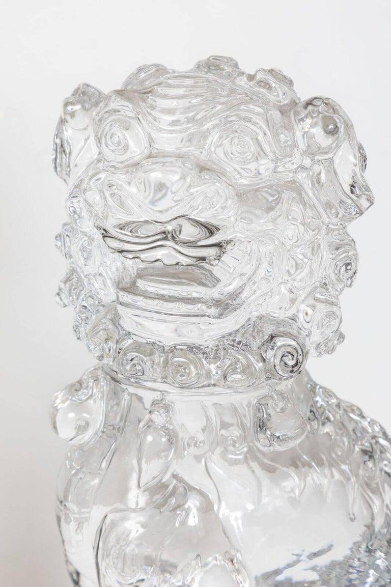 Transparent, Peking Glass Foo Dogs In Good Condition For Sale In Newport Beach, CA