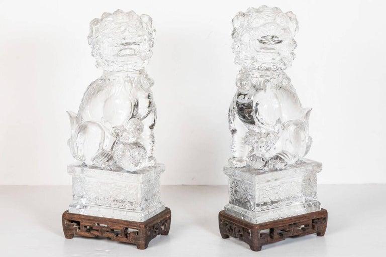 Transparent, Peking Glass Foo Dogs For Sale 1