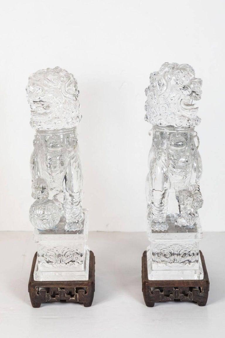 Transparent, Peking Glass Foo Dogs For Sale 2