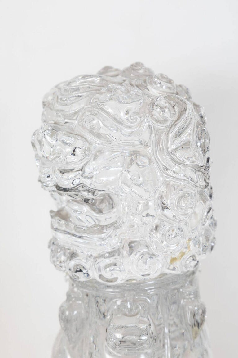 Transparent, Peking Glass Foo Dogs For Sale 3