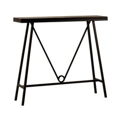 'Trapèze' Blackened Steel and Goatskin Console by Design Frères