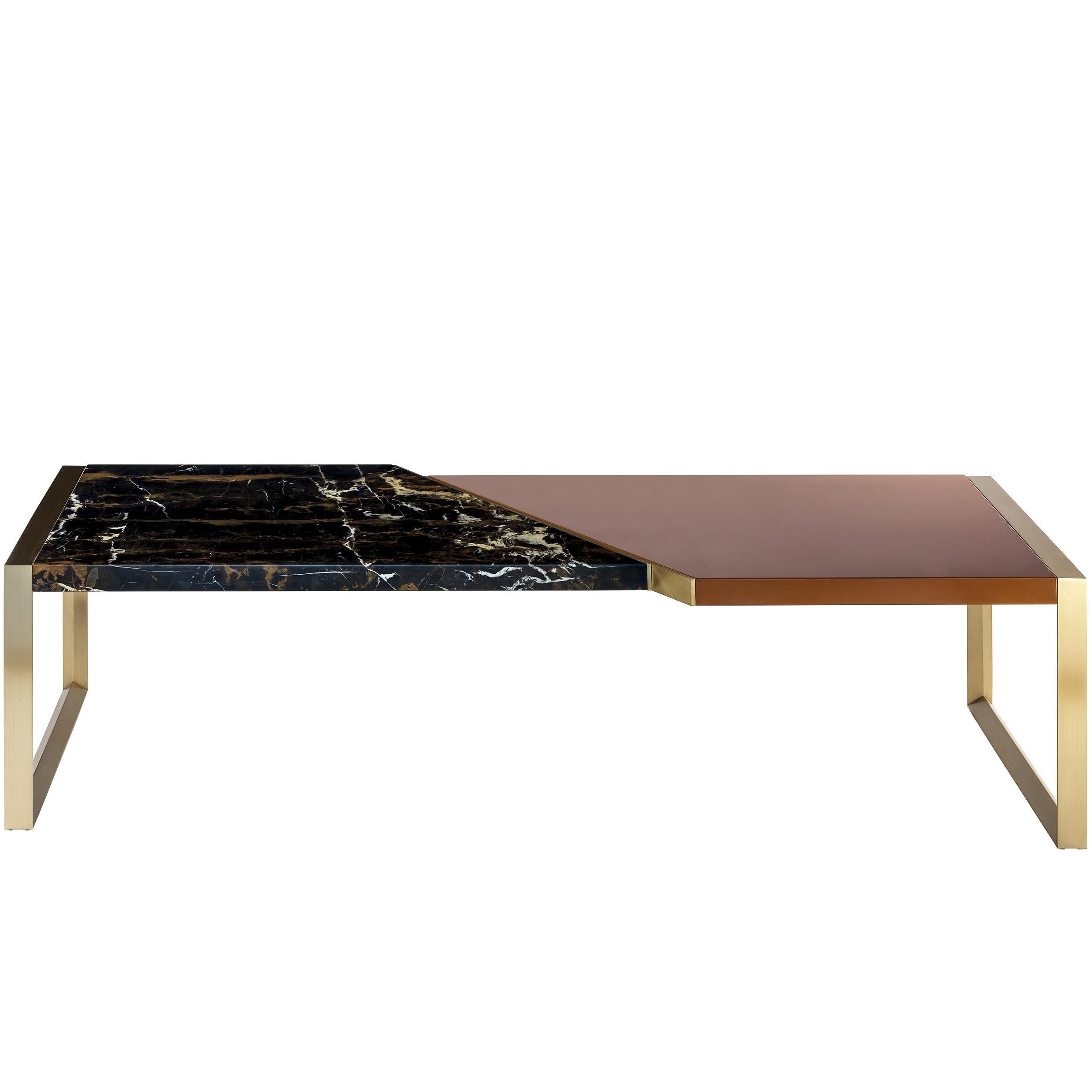 Trapeze Coffee Table with Lacquered Wood, Black and Gold Marble, Brass