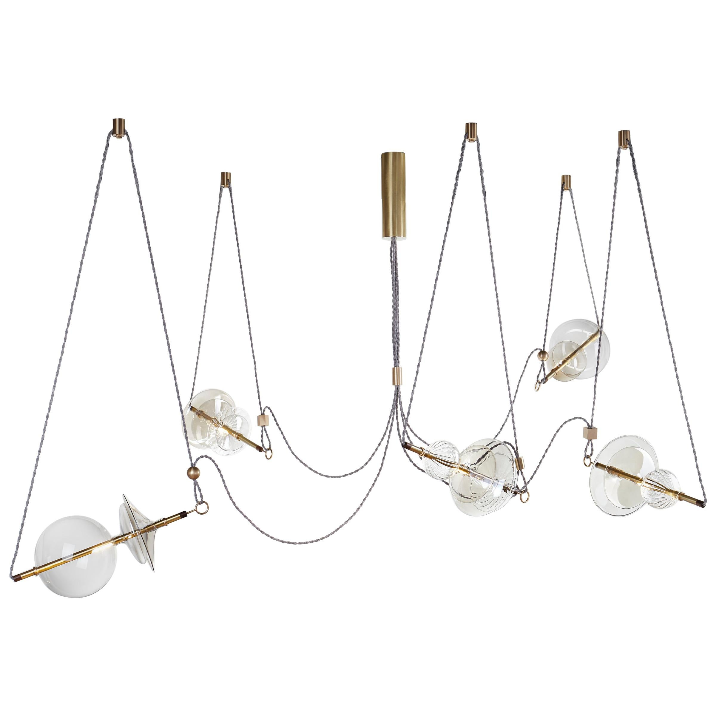 Trapezi Five Lights Neutral Shades Contemporary Pendant/Chandelier Brass, Glass