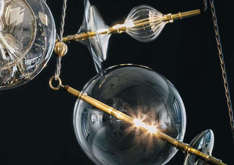 Trapezi Four Lights Contemporary Pendant/Chandelier Lustro-Painted Blown Glass For Sale 1