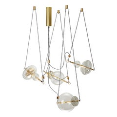 Trapezi Four Lights Contemporary Pendant/Chandelier Lustro-Painted Blown Glass