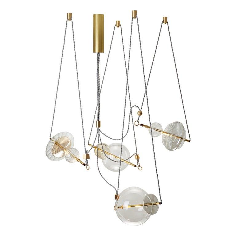 Trapezi Four Lights Contemporary Pendant/Chandelier Lustro-Painted Blown Glass For Sale