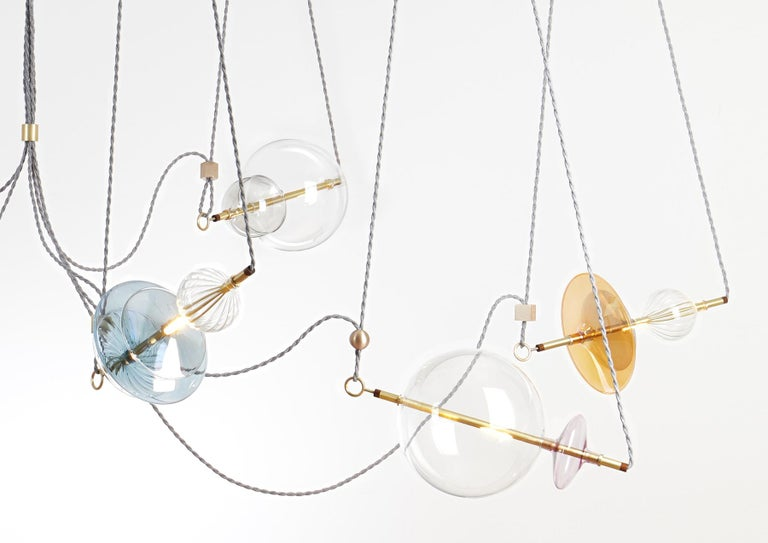 Italian Trapezi Six Lights Bright Colors Contemporary Pendant/Chandelier Brass, Glass For Sale