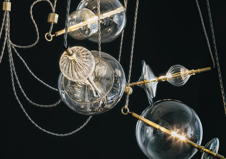 Trapezi Six Lights Contemporary Pendant/Chandelier Lustro-Painted Blown Glass In New Condition For Sale In Novellara, IT