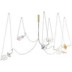 Trapezi Six Lights Bright Colors Contemporary Pendant/Chandelier Brass, Glass