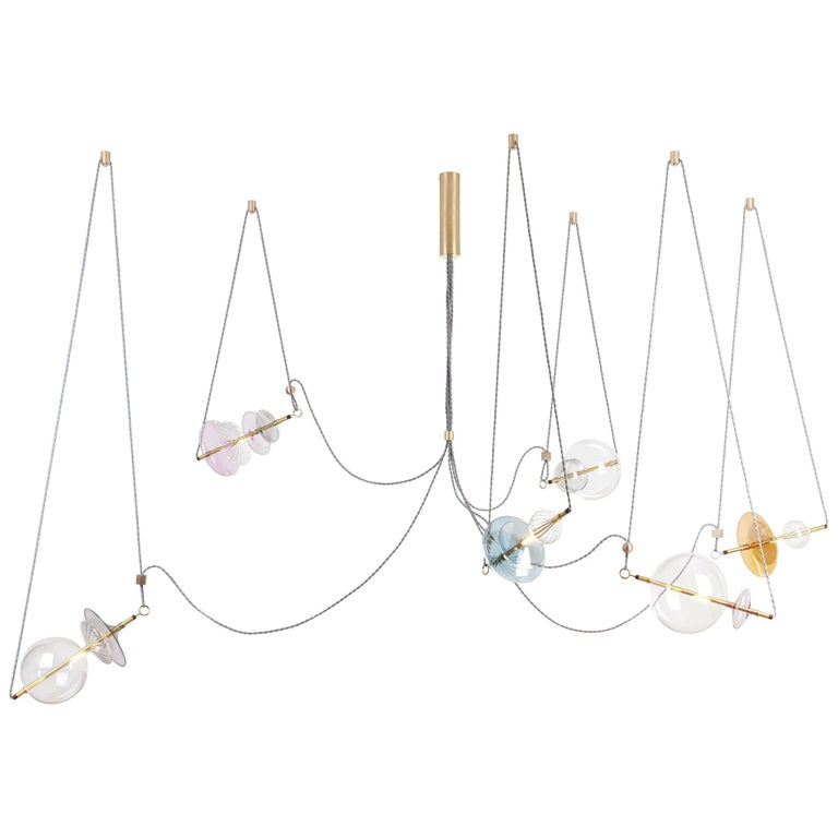 Trapezi Six Lights Bright Colors Contemporary Pendant/Chandelier Brass, Glass For Sale