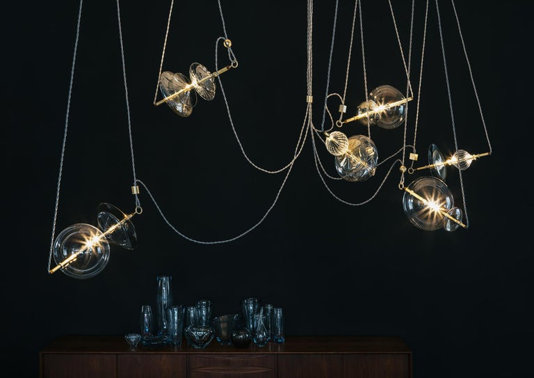 Modern Trapezi Six Lights Neutral Shades Contemporary Pendant/Chandelier Brass, Glass For Sale