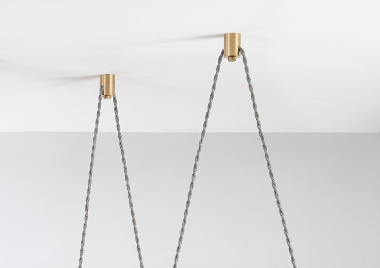 Trapezi Six Lights Neutral Shades Contemporary Pendant/Chandelier Brass, Glass For Sale 1