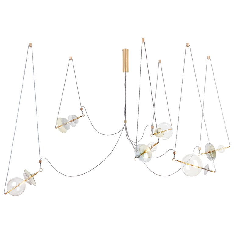 Trapezi Six Lights Neutral Shades Contemporary Pendant/Chandelier Brass, Glass For Sale