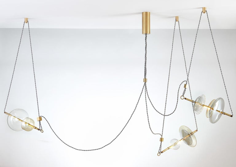 Linen Trapezi Three Lights Contemporary Pendant/Chandelier Lustro-Painted Blown Glass For Sale