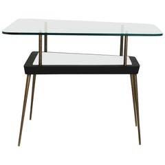 Trapezoid 1950s or 1960s Black and White and Brass Occasional Side Table
