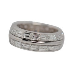 Trapezoid Cut Diamond Eternity Ring Set in 18k White Gold, 5.92 Carats
