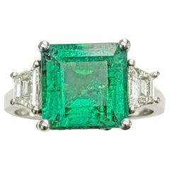 Trapezoid Diamond and Emerald, Cut Emerald 3, Stone Ring