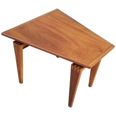 Trapezoid Walnut End Table with Finger Joint Detail