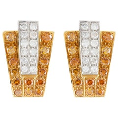 Trapezoidal Diamond Clip-On Earrings