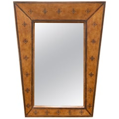 Trapezoidal Wall Mirror in Tooled Leather, circa Late 20th Century