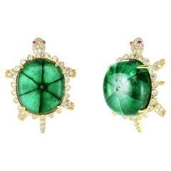 Cicada Trapiche Emerald, Diamond, Gold Turtle Stud Earrings