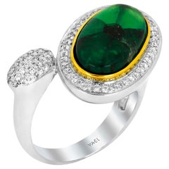 Trapiche Emerald Diamond White and Yellow Gold Ring