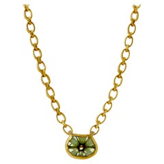Trapiche Emerald Necklace on 18k Yellow Gold Handmade Chain and Toggle