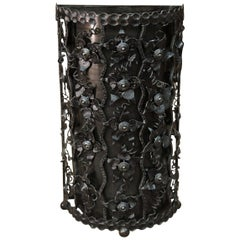 Trash Can or Umbrella Stand in Carved Iron with Flower Decor, circa 1940