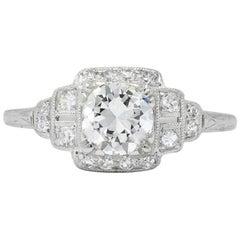 Traub Art Deco 0.85 Carat Diamond Platinum Engagement Ring