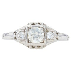 Traub Orange Blossom Diamond Art Deco Ring White Gold 18k Old Mine .50ctw Vintag