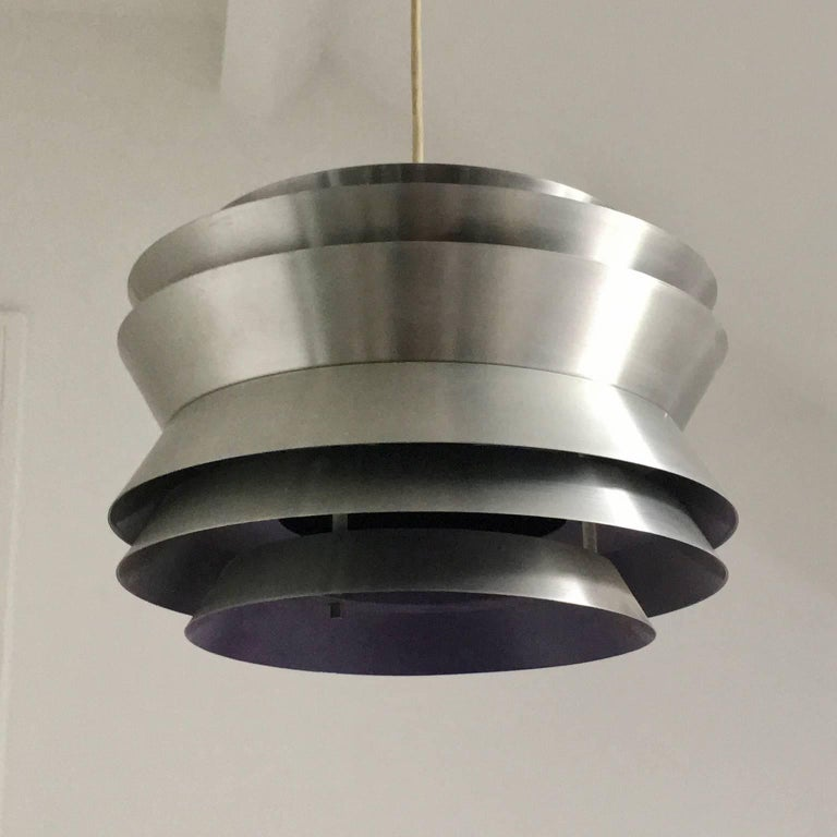 Trava Pendant Light in Spun Aluminium by Carl Thore, Sweden, 1960s For Sale 2