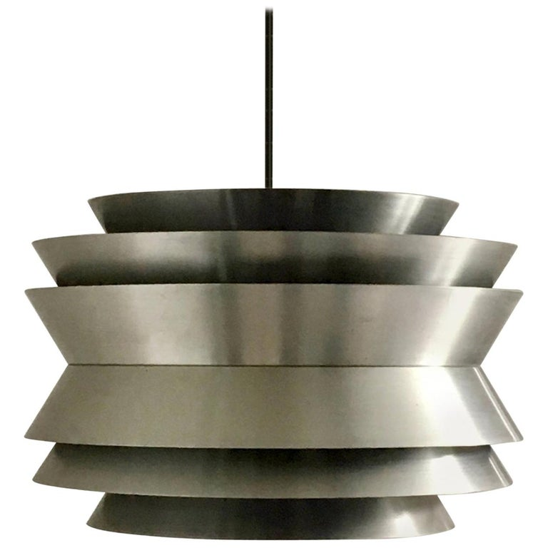 Trava Pendant Light in Spun Aluminium by Carl Thore, Sweden, 1960s For Sale