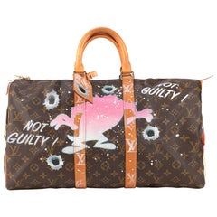 "Travel bag Louis Vuitton 45 Monogram customized ""Fucking Taz"" by PatBo"
